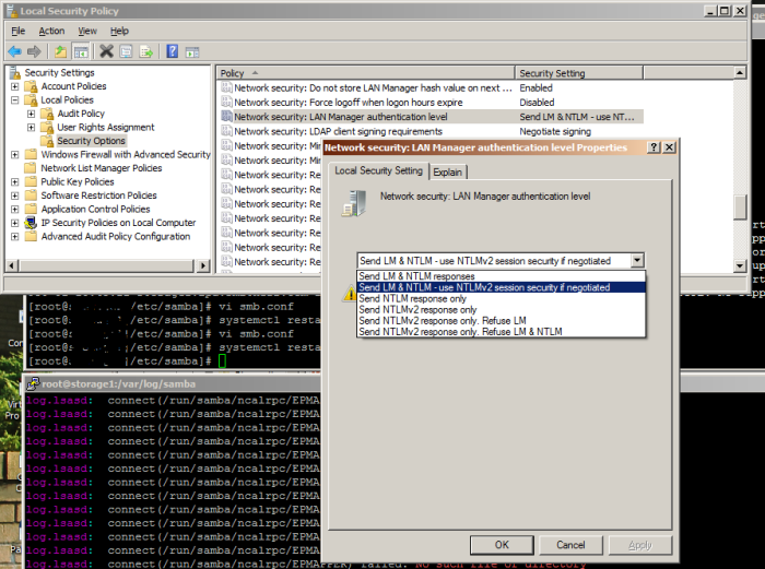 secpol.msc utility showing directory tree navigated to Network security: LAN Manager authentication level setting