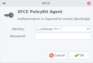 XFCE PolicyKit Agent warning about authentication required to perform an action