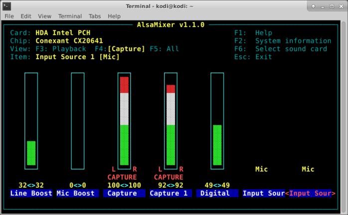screenshot of alsa mixer on capture settings screen