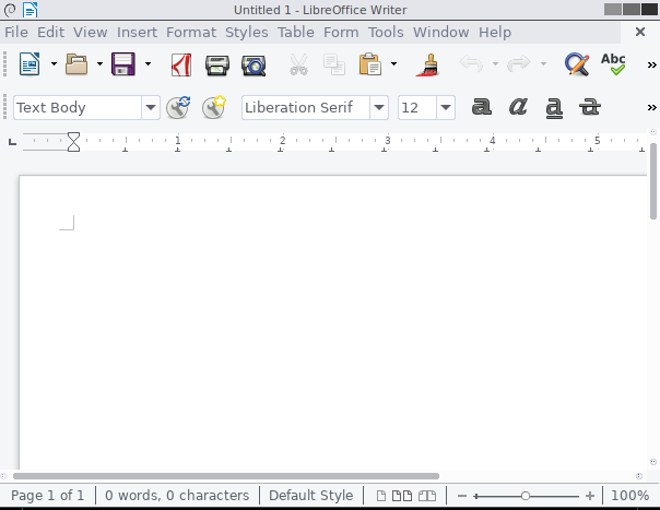 libreoffice writer with gtk3 theming