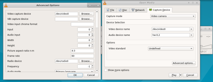 screenshot of vlc with /dev/video0, hw:0,2 and audio input=0