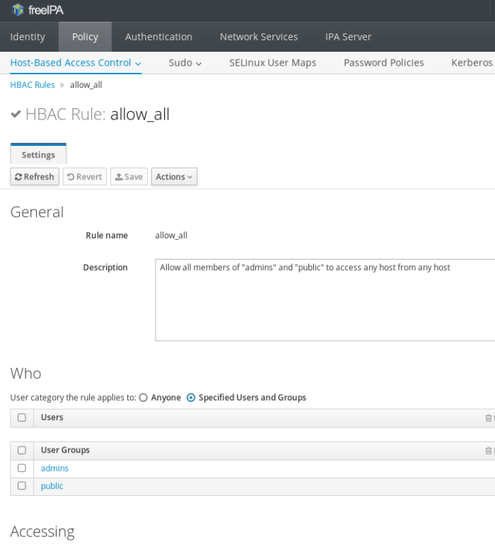 web interface of freeipa showing the policy, hbac, rule allow_all configured with specific user groups