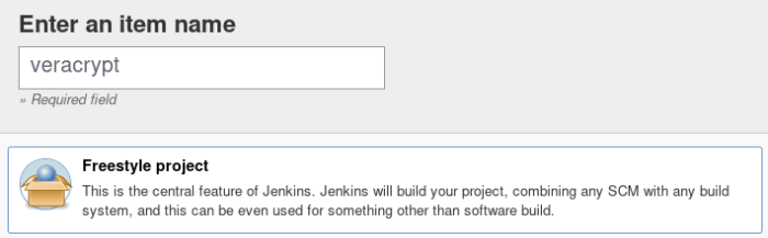 "screenshot of Jenkins wui where the user is about to make a new project named ""veracrypt."""