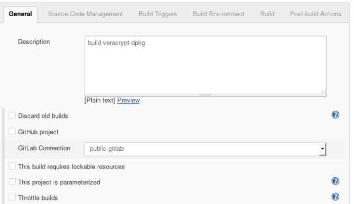 Screenshot of jenkins project showing General settings, Gitlab connection