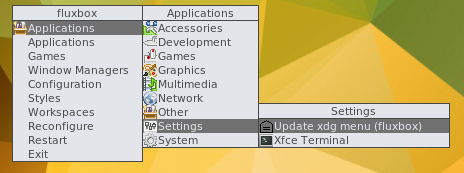 "screenshot showing ""Update xdg menu (fluxbox)"" menu entry"