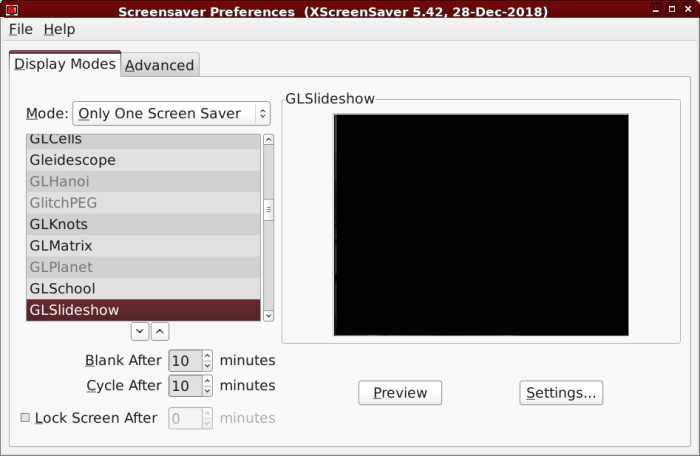 Xscreensaver settings on main tab showing GLSlideshow selected