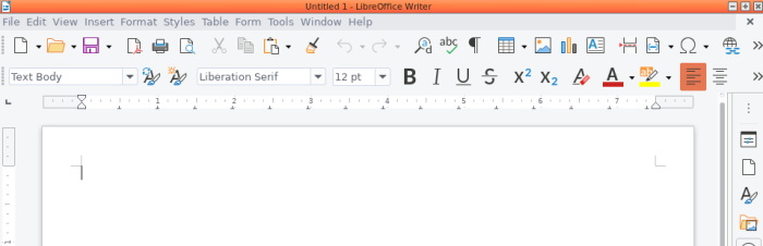 LibreOffice 7.0.0 Writer with Colibre (default) icons