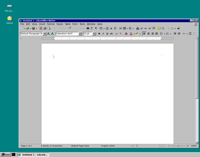 LibreOffice Writer with the Chicago95 iconset